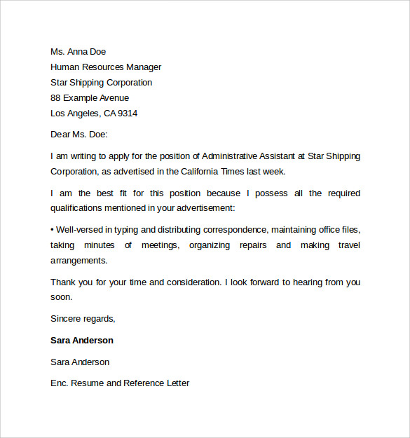 Administrative Assistant Cover Letter Template - 9+ Free Samples