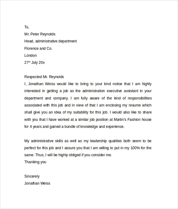 Sample Of Cover Letter For Administrative Assistant