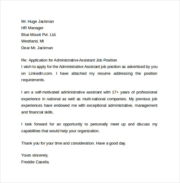 free administrative assistant cover letter samples