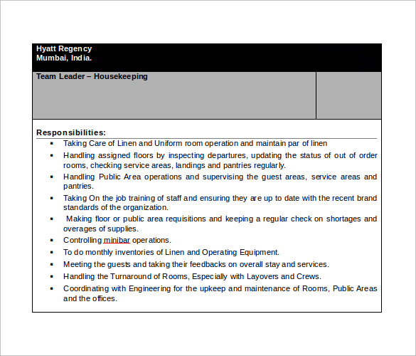 Curriculum Vitae Format For Housekeeping