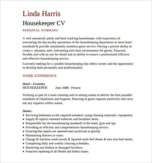 free 12  sample housekeeping resume templates in pdf