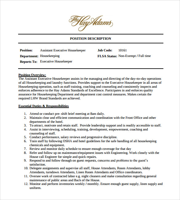 Housekeeping Duties For Resume  Template