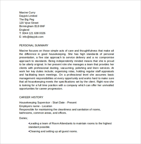 Housekeeping Supervisor Resume Sample Aaaaeroincus Prepossessing Job And  Resume Template  Housekeeping Supervisor Resume
