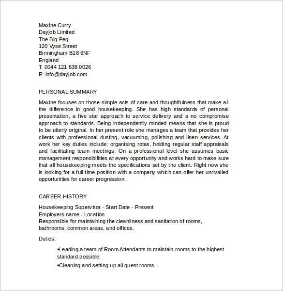 sle housekeeping resume 11 documents in pdf word