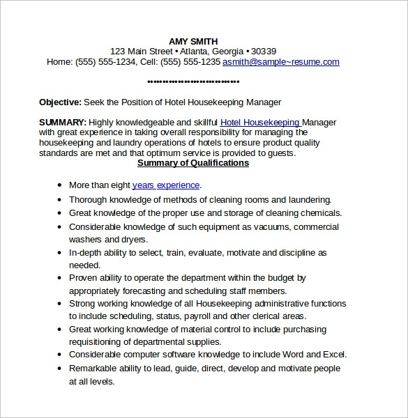 housekeeping supervisor resume sample 03052017