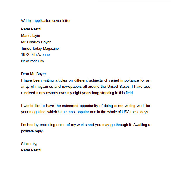 writing application cover letter