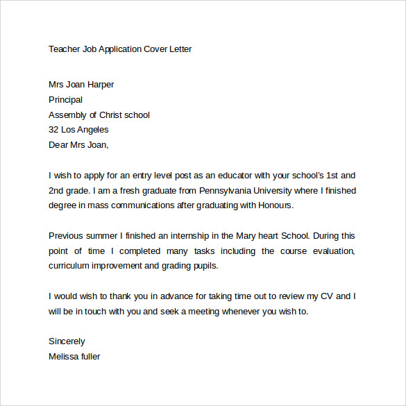 Job Application Letter To Teacher