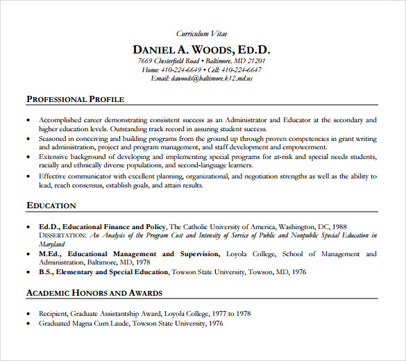 sample academic resume