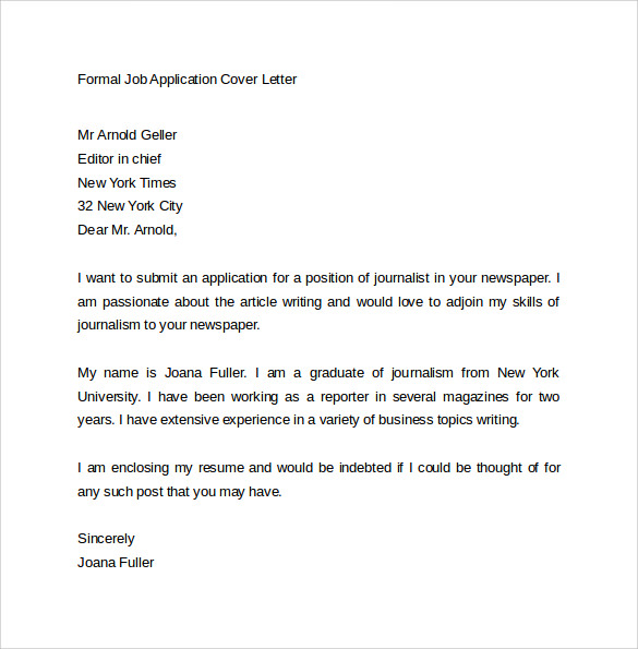 Cover letter journalist position