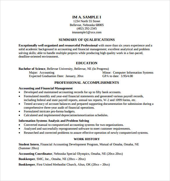 Academic resume example
