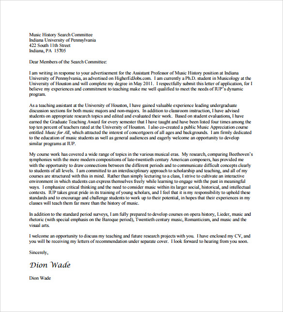 Application Cover Letter 10 Free Samples Examples Format – Phd Application Cover Letter
