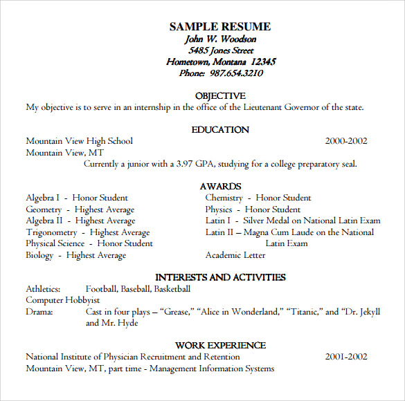 resume format for college applications academic example template free
