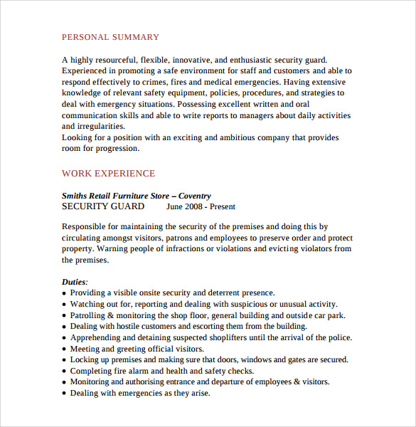 security guard resume 7 free download free documents in