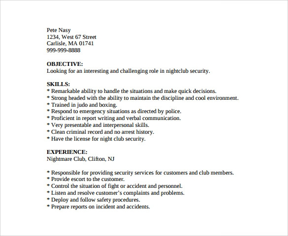 sample security guard resume