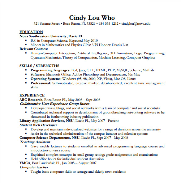 Sample Computer Science Resume    Download Free Documents In