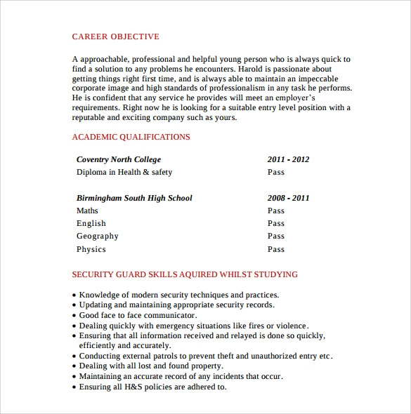 standard security guard resume 1