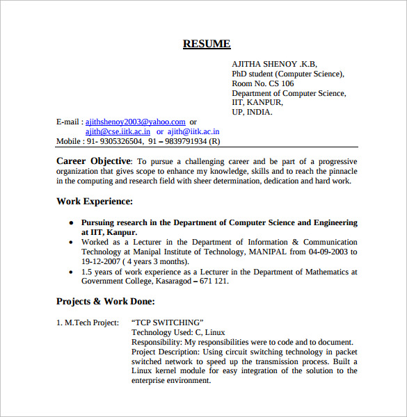 Sample Computer Science Resume 11 Download Free
