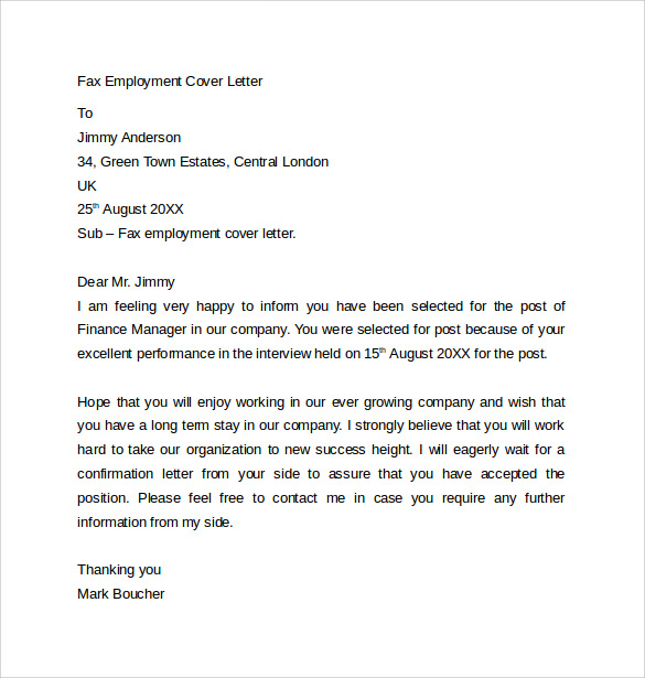 Sample Fax Cover Letter Template | Medicalassistant.Us