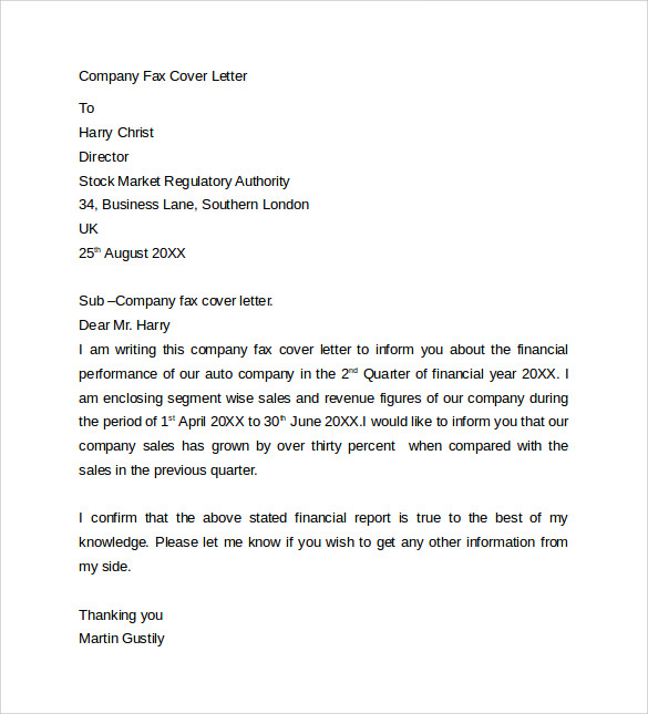 Fax Cover Letter 9 Free Samples Examples Format – Sample Fax Cover Sheet