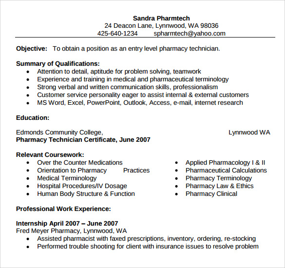 Cover Letter For Pharmacy Technician: Sample Pharmacy Technician Resume