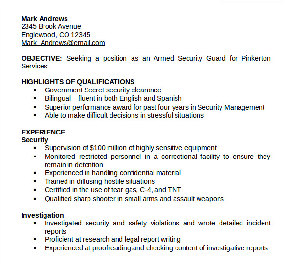 download security guard resume
