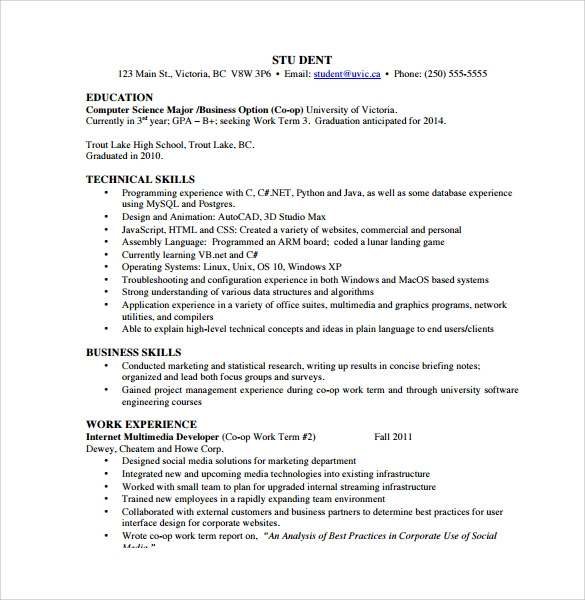 sample computer science resume