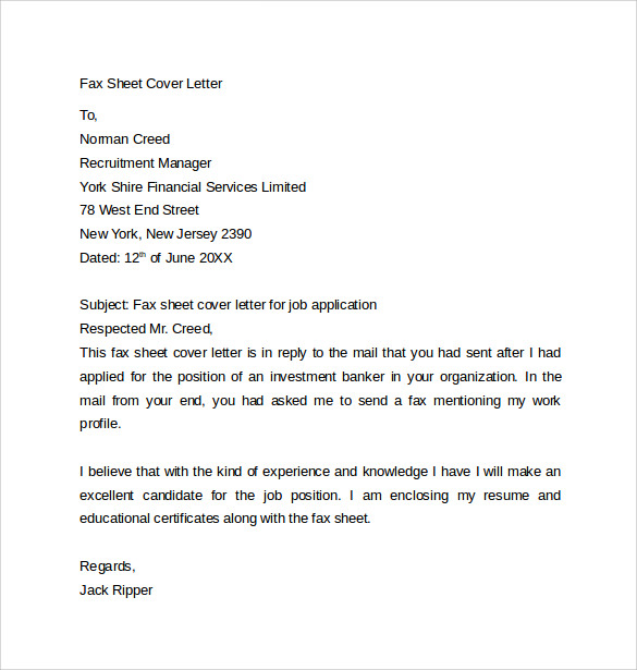 fax sheet cover letter