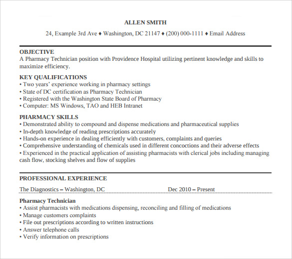 sample pharmacy technician resume 8 free documents in