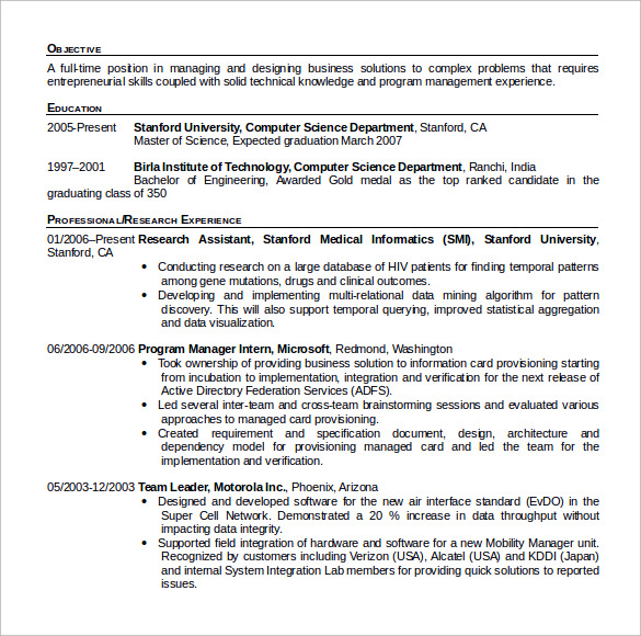 Sample Computer Science Resume    Download Free Documents In Pdf