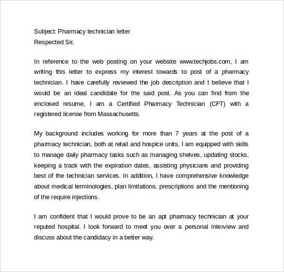 Pharmacy Technician Resume Cover Letter
