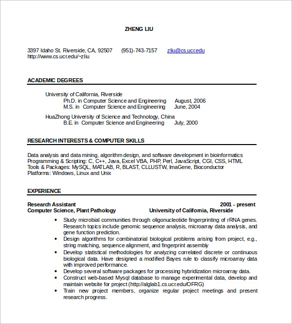 Curriculum-Vitae-of-Computer-Science Sample Curriculum Vitae For Graduate on