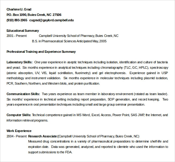 experience pharmacy technician resume