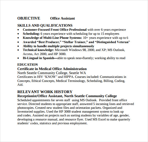 Sample Office Assistant Resume - 9+ Download Free Documents In Pdf
