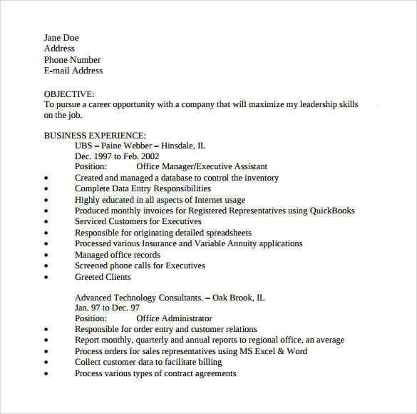 simple office assistant resume - Office Assistant Resume Templates