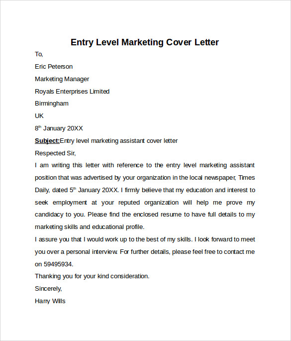 Marketing Assistant Entry Level Cover Letter