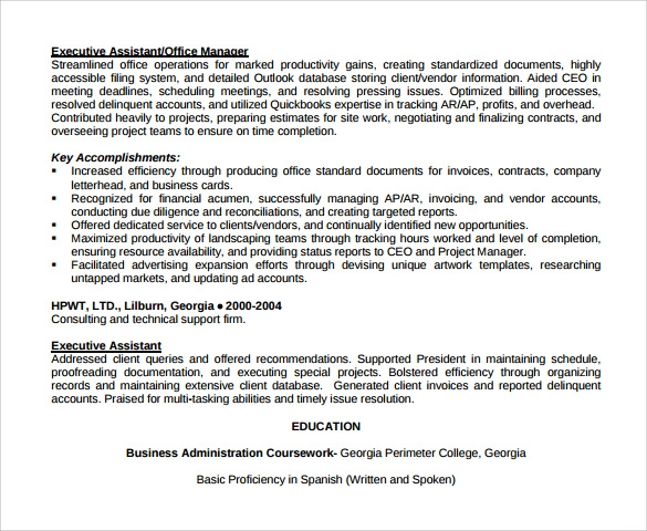 Sample Office Assistant Resume 9 Download Free