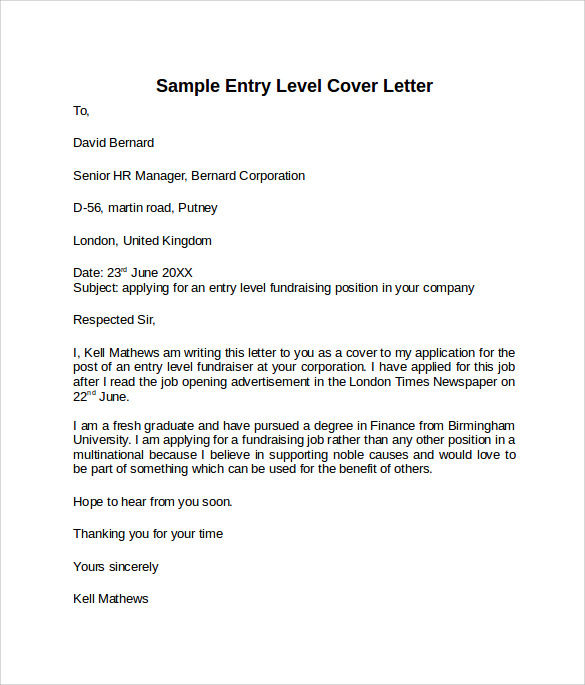 sample cover letter entry level