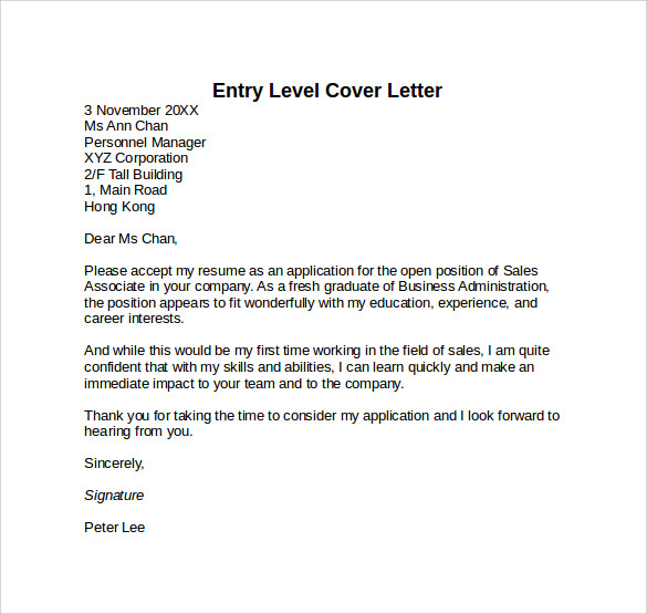 Sample Entry Level Cover Letter Sample Entry Level Cover Letter