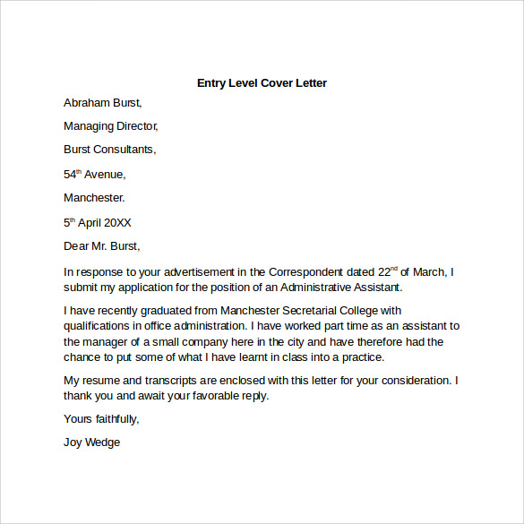 Entry Level Cover Letter Templates - 9+ Free Samples ...