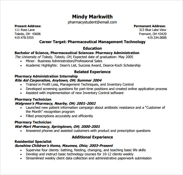 Sample Pharmacy Technician Resume   Free Documents In Pdf Word