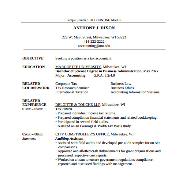 Sample Tax Accountant Resumes  CityEsporaCo