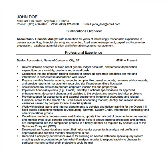 Sample Accountant Resume 12 Download Free Documents in PDF Word – Senior Accountant Sample Resume
