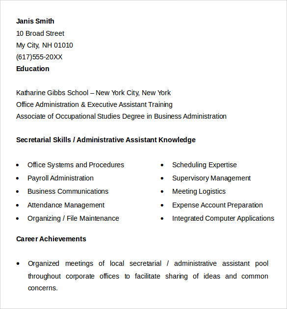 sample of office assistant resume