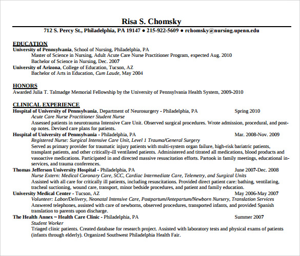 Sample Registered Nurse Resume 7 Download Free