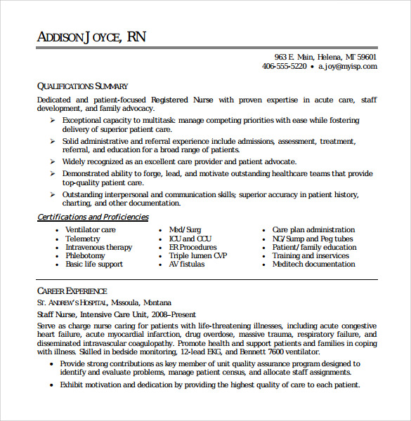 Sample Registered Nurse Resume    Download Free Documents In
