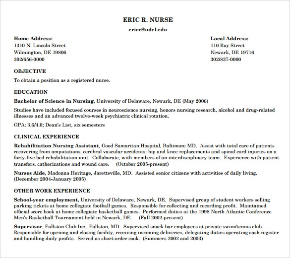 example of registered nurse resume - Resume Examples For Registered Nurse