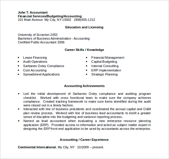 sample accountant resume 12 download free documents in pdf word