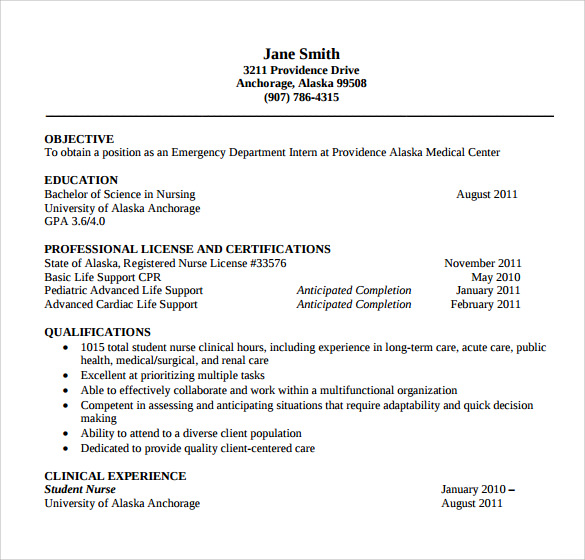 Resume for a registered nurse