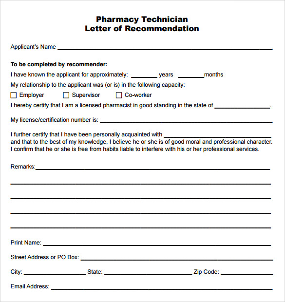 Pharmacy Technician Letter    Samples Examples Format