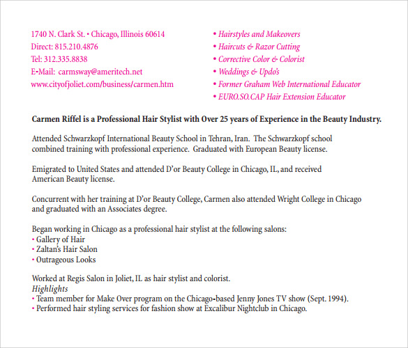 hair style resume pdf